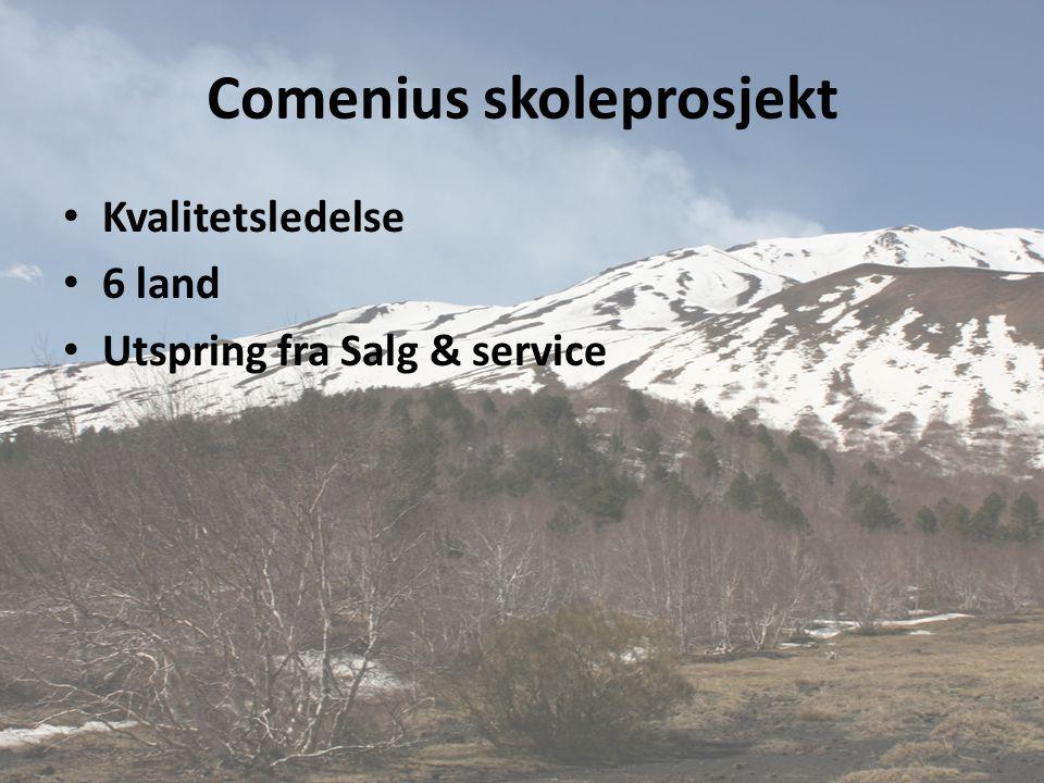 Comenius skoleprosjekt • Kvalitetsledelse • 6 land • Utspring fra Salg & service
