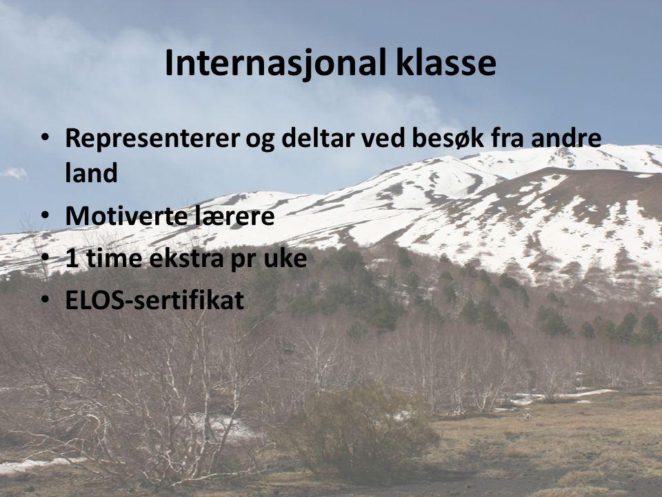 Internasjonal klasse • Representerer og deltar ved besøk fra andre land • Motiverte lærere • 1 time ekstra pr uke • ELOS-sertifikat
