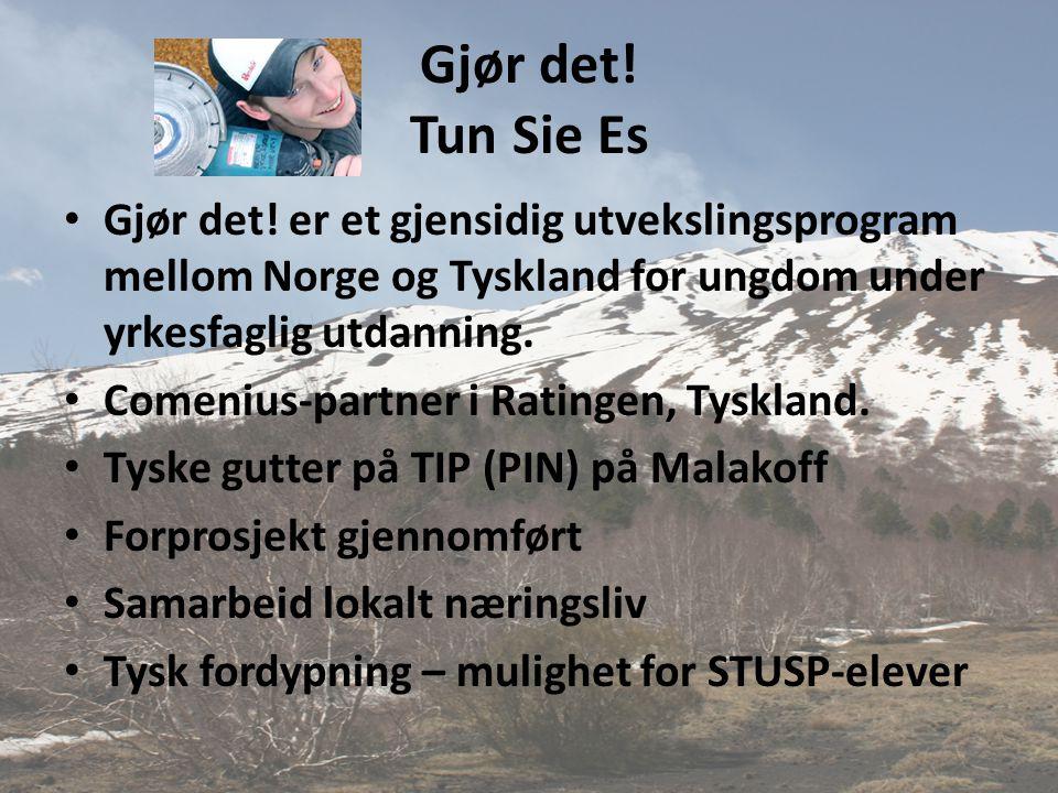 Gjør det! Tun Sie Es • Gjør det! er et gjensidig utvekslingsprogram mellom Norge og Tyskland for ungdom under yrkesfaglig utdanning. • Comenius-partne