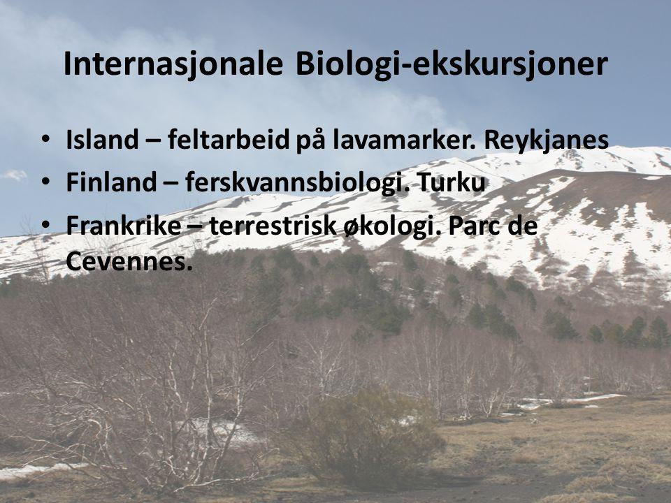 Internasjonale Biologi-ekskursjoner • Island – feltarbeid på lavamarker. Reykjanes • Finland – ferskvannsbiologi. Turku • Frankrike – terrestrisk økol