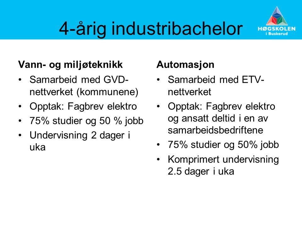 4-årig industribachelor Vann- og miljøteknikk •Samarbeid med GVD- nettverket (kommunene) •Opptak: Fagbrev elektro •75% studier og 50 % jobb •Undervisn
