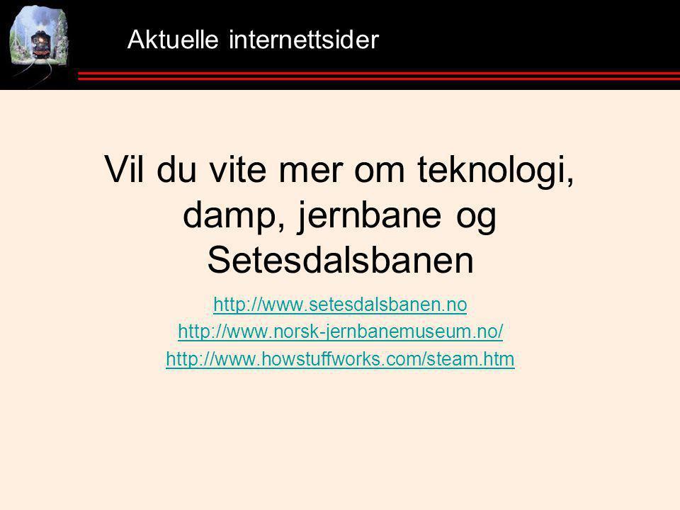 Aktuelle internettsider Vil du vite mer om teknologi, damp, jernbane og Setesdalsbanen http://www.setesdalsbanen.no http://www.norsk-jernbanemuseum.no/ http://www.howstuffworks.com/steam.htm