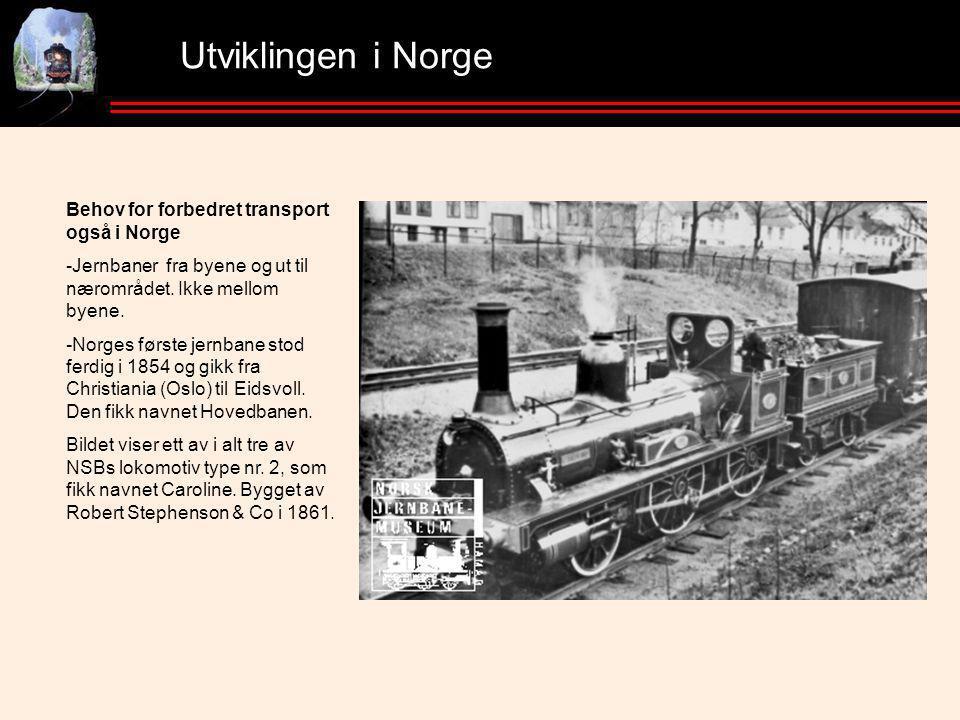 Utviklingen i Norge Behov for forbedret transport også i Norge -Jernbaner fra byene og ut til nærområdet.