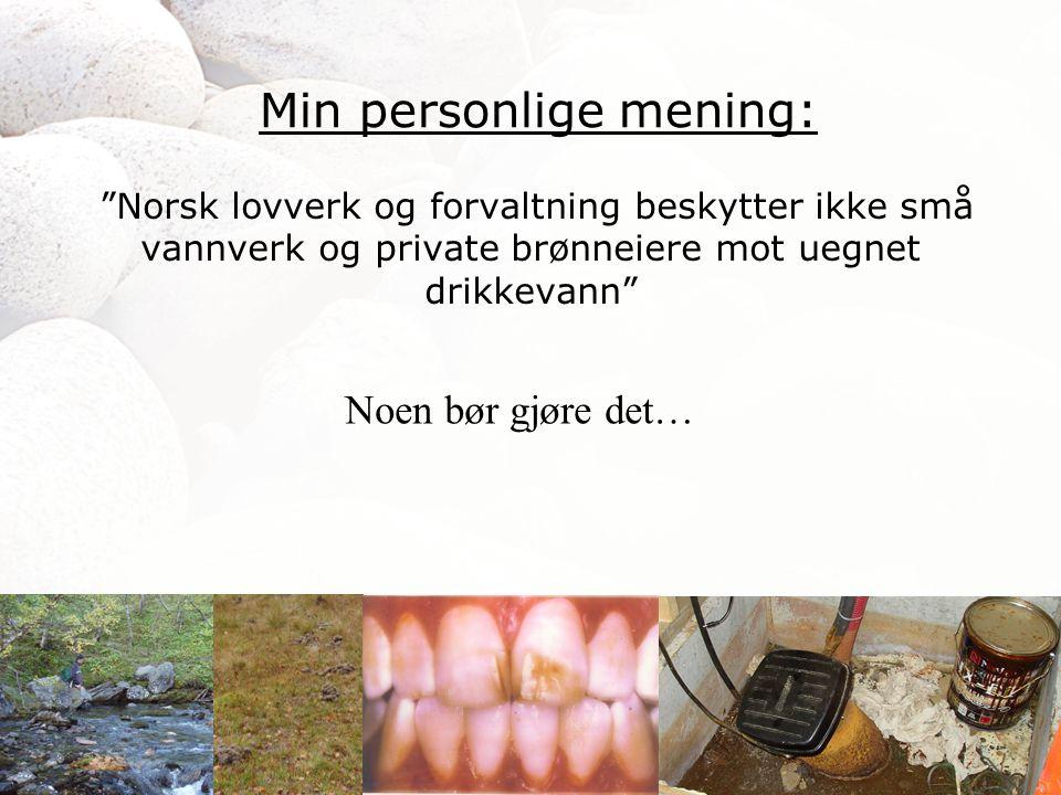 """""""Norsk lovverk og forvaltning beskytter ikke små vannverk og private brønneiere mot uegnet drikkevann"""" Min personlige mening: Noen bør gjøre det…"""