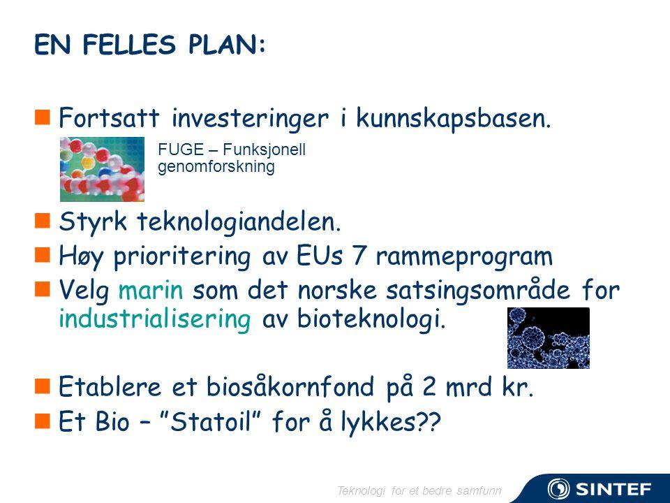 Teknologi for et bedre samfunn EN FELLES PLAN:  Fortsatt investeringer i kunnskapsbasen.  Styrk teknologiandelen.  Høy prioritering av EUs 7 rammep