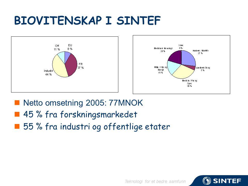 Teknologi for et bedre samfunn BIOVITENSKAP I SINTEF  Netto omsetning 2005: 77MNOK  45 % fra forskningsmarkedet  55 % fra industri og offentlige et