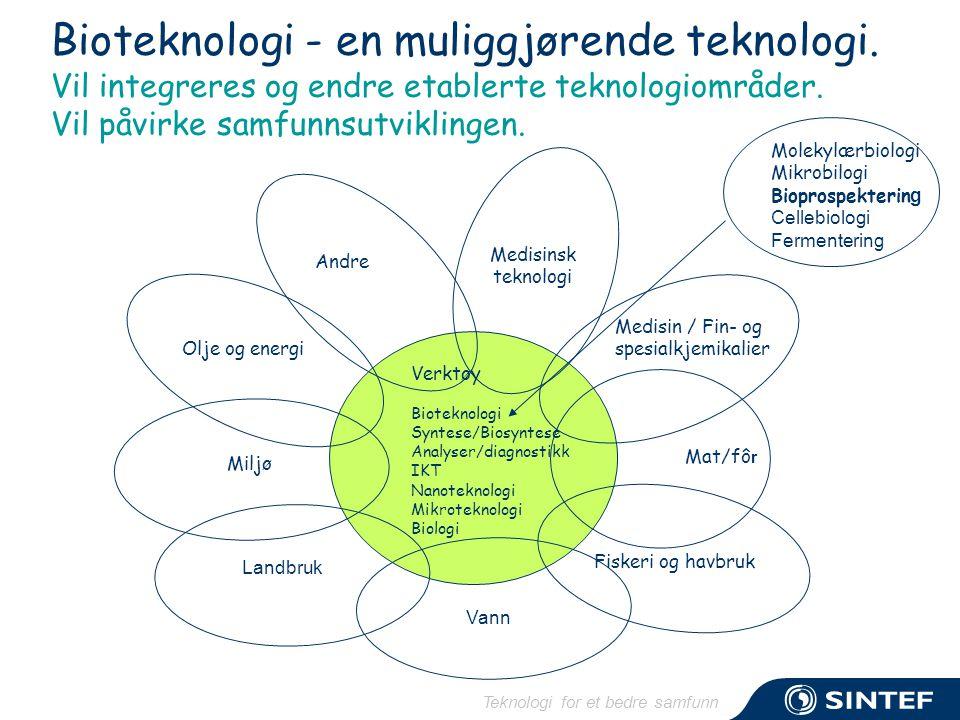 Teknologi for et bedre samfunn Bioteknologi - en muliggjørende teknologi. Vil integreres og endre etablerte teknologiområder. Vil påvirke samfunnsutvi
