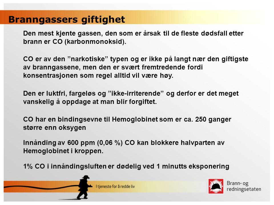 """Den mest kjente gassen, den som er årsak til de fleste dødsfall etter brann er CO (karbonmonoksid). CO er av den """"narkotiske"""" typen og er ikke på lang"""