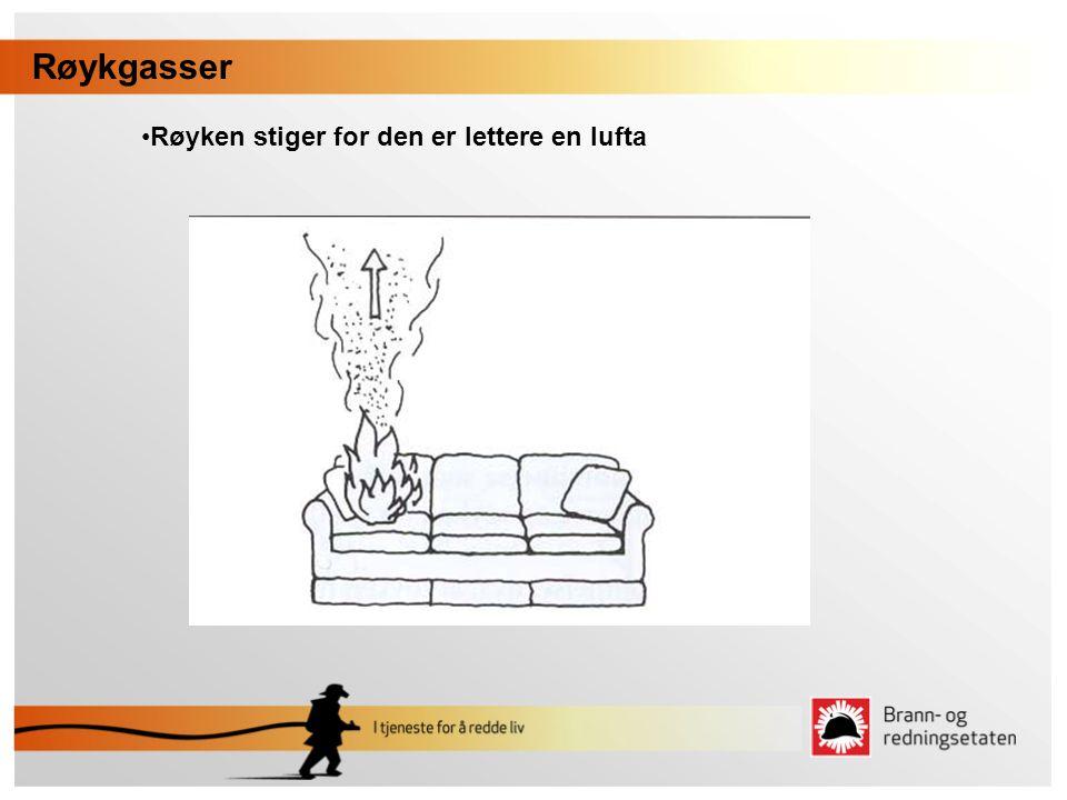Røykgasser •Røyken stiger for den er lettere en lufta