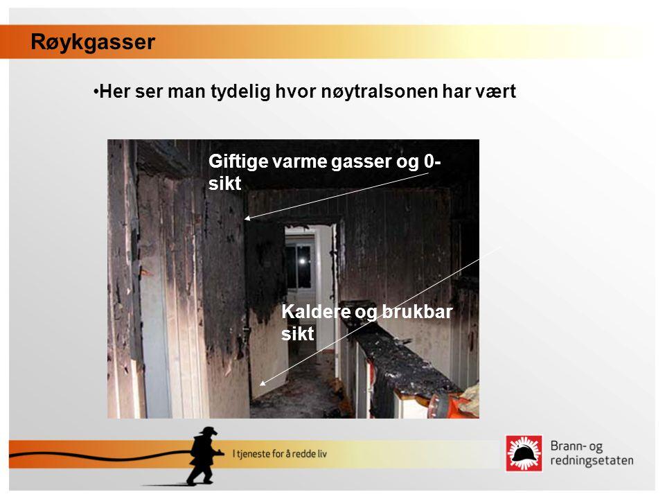 Røykgasser •Her ser man tydelig hvor nøytralsonen har vært Giftige varme gasser og 0- sikt Kaldere og brukbar sikt