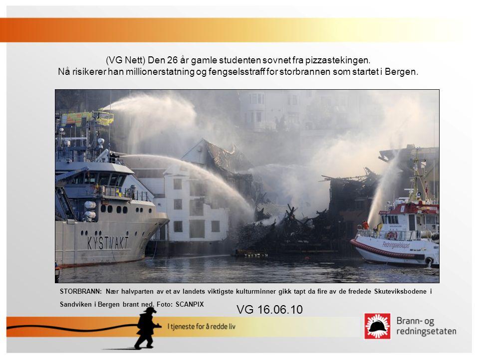 STORBRANN: Nær halvparten av et av landets viktigste kulturminner gikk tapt da fire av de fredede Skuteviksbodene i Sandviken i Bergen brant ned. Foto