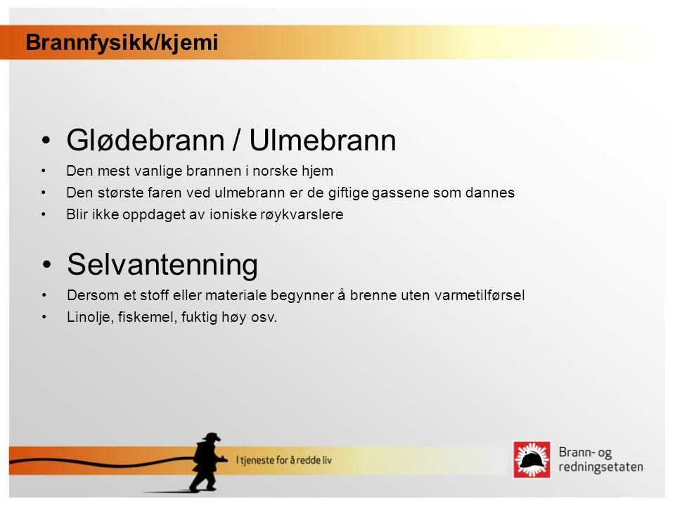 •Glødebrann / Ulmebrann •Den mest vanlige brannen i norske hjem •Den største faren ved ulmebrann er de giftige gassene som dannes •Blir ikke oppdaget