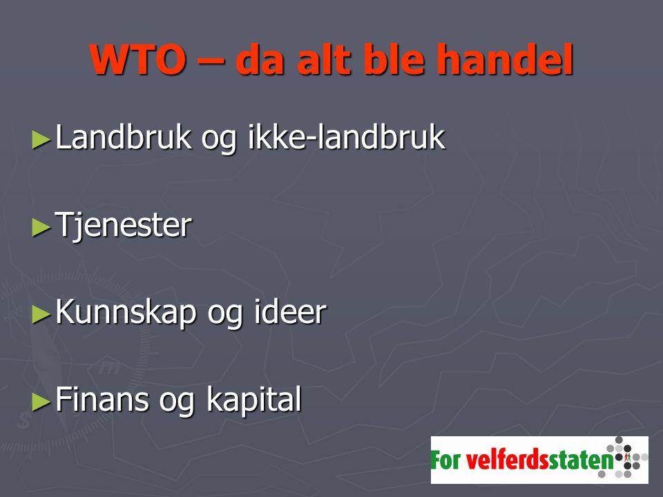 WTO – da alt ble handel ► Landbruk og ikke-landbruk ► Tjenester ► Kunnskap og ideer ► Finans og kapital