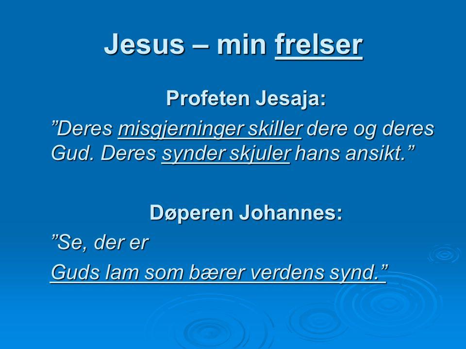 """Jesus – min frelser Profeten Jesaja: """"Deres misgjerninger skiller dere og deres Gud. Deres synder skjuler hans ansikt."""" Døperen Johannes: """"Se, der er"""