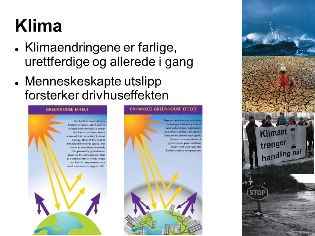 Klima  Klimaendringene er farlige, urettferdige og allerede i gang  Menneskeskapte utslipp forsterker drivhuseffekten