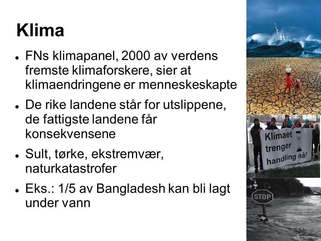 Klima  FNs klimapanel, 2000 av verdens fremste klimaforskere, sier at klimaendringene er menneskeskapte  De rike landene står for utslippene, de fat