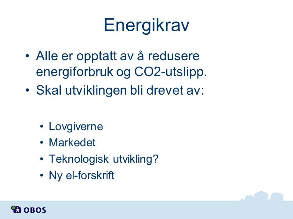 Energikrav •Alle er opptatt av å redusere energiforbruk og CO2-utslipp. •Skal utviklingen bli drevet av: •Lovgiverne •Markedet •Teknologisk utvikling?