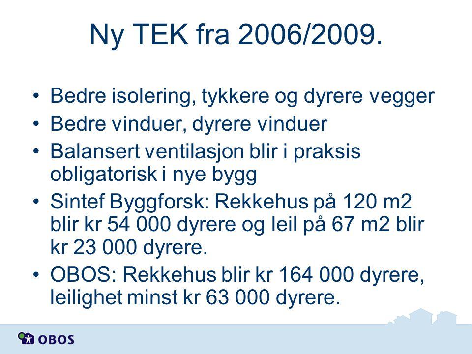 Ny TEK fra 2006/2009. •Bedre isolering, tykkere og dyrere vegger •Bedre vinduer, dyrere vinduer •Balansert ventilasjon blir i praksis obligatorisk i n
