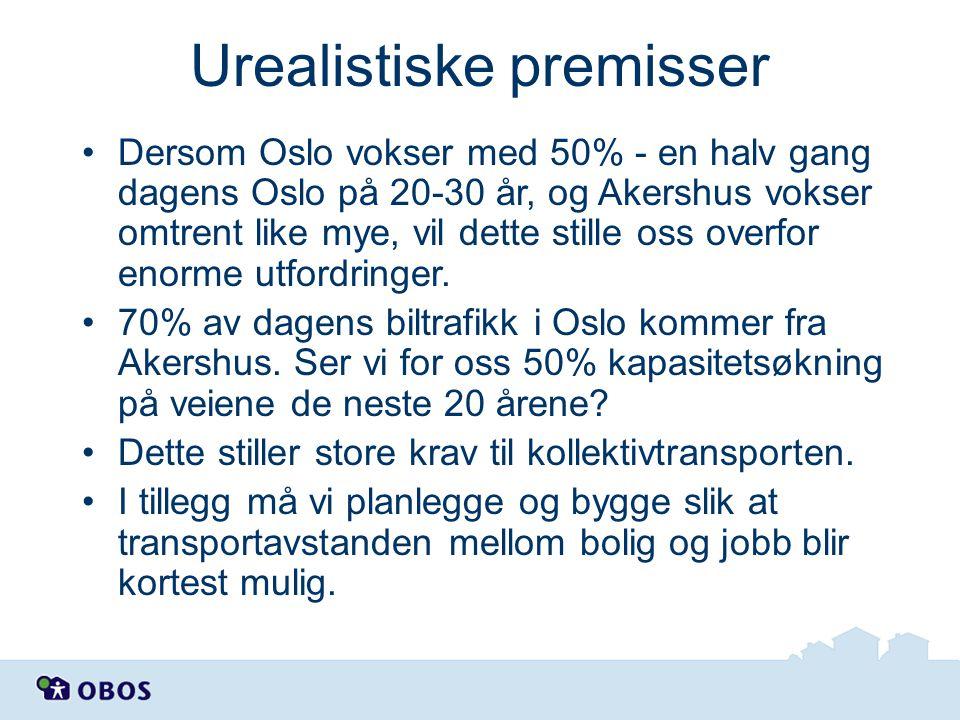 Urealistiske premisser •Dersom Oslo vokser med 50% - en halv gang dagens Oslo på 20-30 år, og Akershus vokser omtrent like mye, vil dette stille oss o