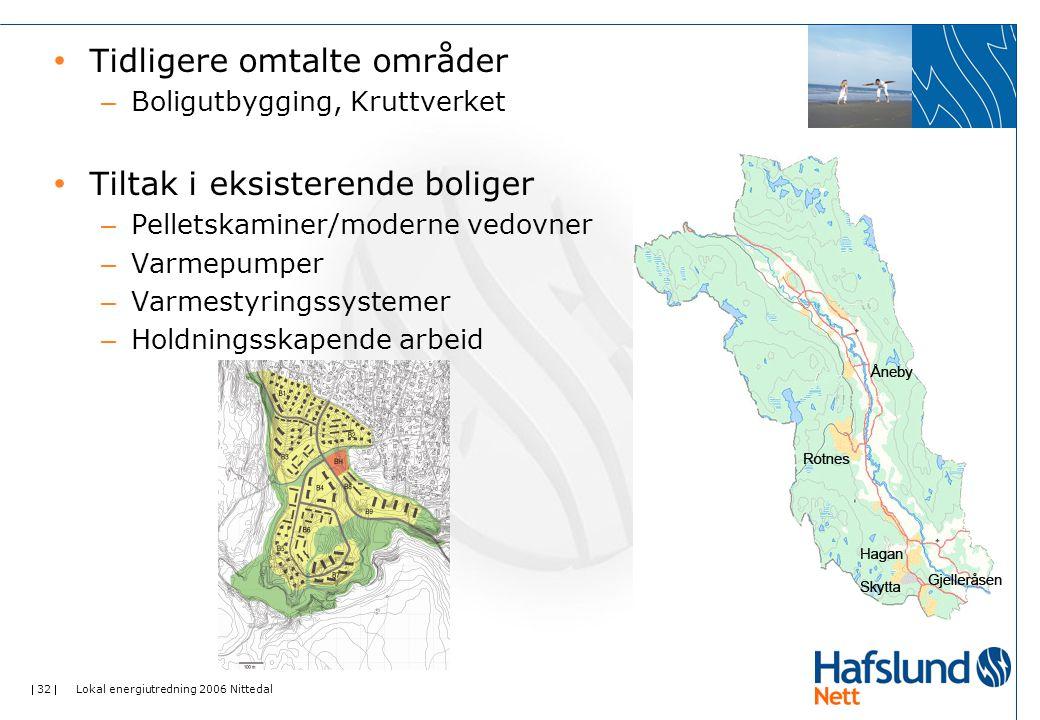  32  Lokal energiutredning 2006 Nittedal • Tidligere omtalte områder – Boligutbygging, Kruttverket • Tiltak i eksisterende boliger – Pelletskaminer/