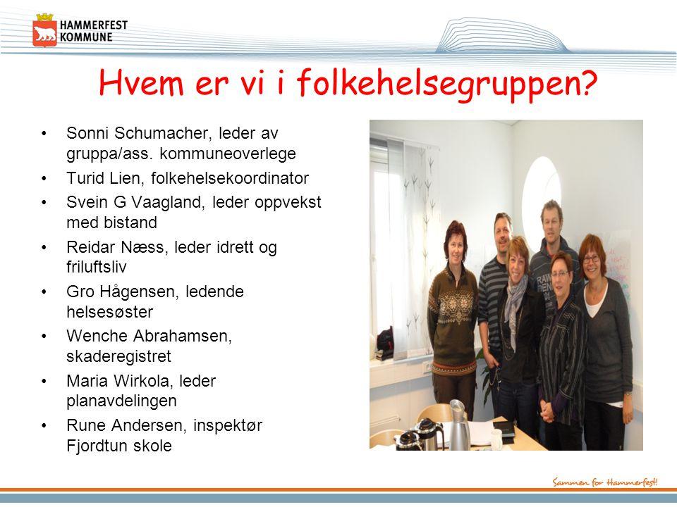 Hvem er vi i folkehelsegruppen.•Sonni Schumacher, leder av gruppa/ass.