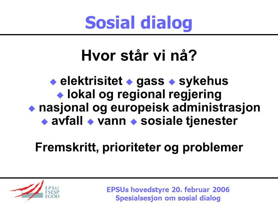 Sosial dialog Hvor står vi nå.