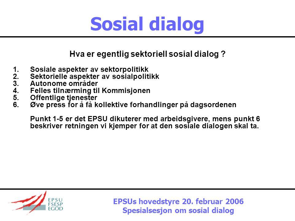 Sosial dialog Det aktuelle klimaet  Liberalisering topper Kommisjonens dagsorden  Ikke noe substansielt på den sosiale dagsordenen  Ikke press på a