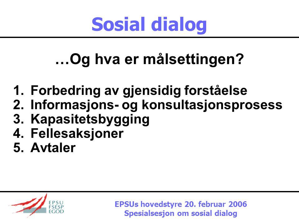 Sosial dialog Hva er egentlig sektoriell sosial dialog ? 1.Sosiale aspekter av sektorpolitikk 2.Sektorielle aspekter av sosialpolitikk 3.Autonome områ