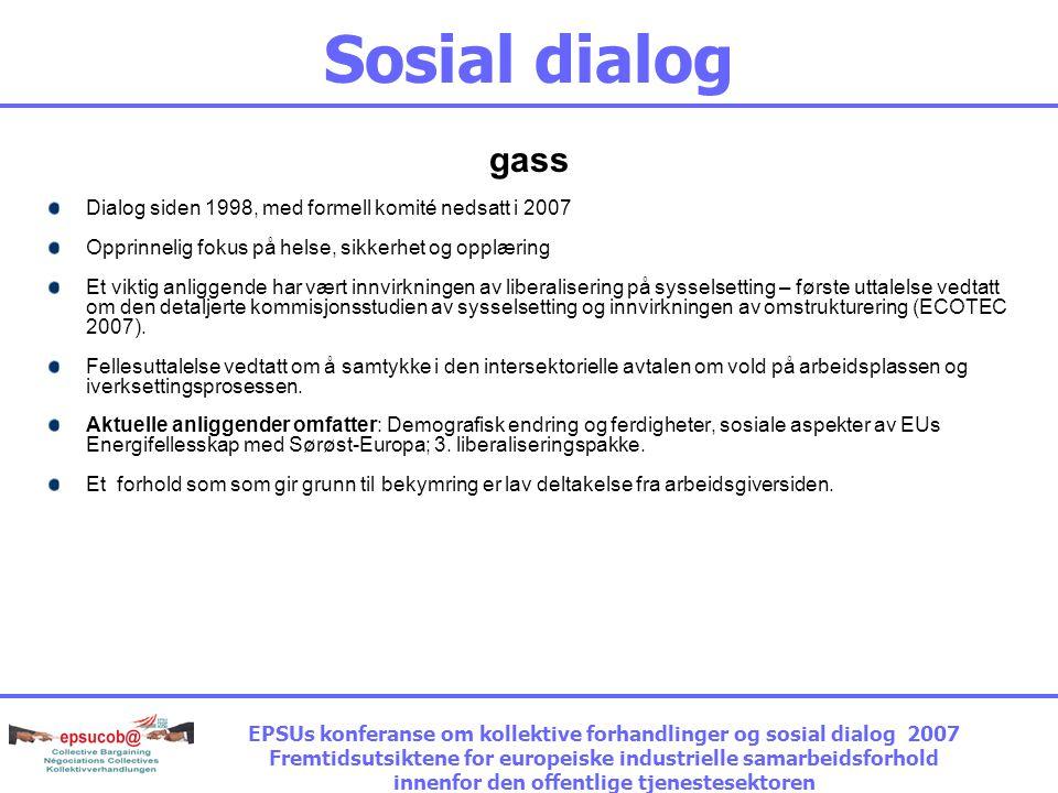 Sosial dialog gass Dialog siden 1998, med formell komité nedsatt i 2007 Opprinnelig fokus på helse, sikkerhet og opplæring Et viktig anliggende har vært innvirkningen av liberalisering på sysselsetting – første uttalelse vedtatt om den detaljerte kommisjonsstudien av sysselsetting og innvirkningen av omstrukturering (ECOTEC 2007).