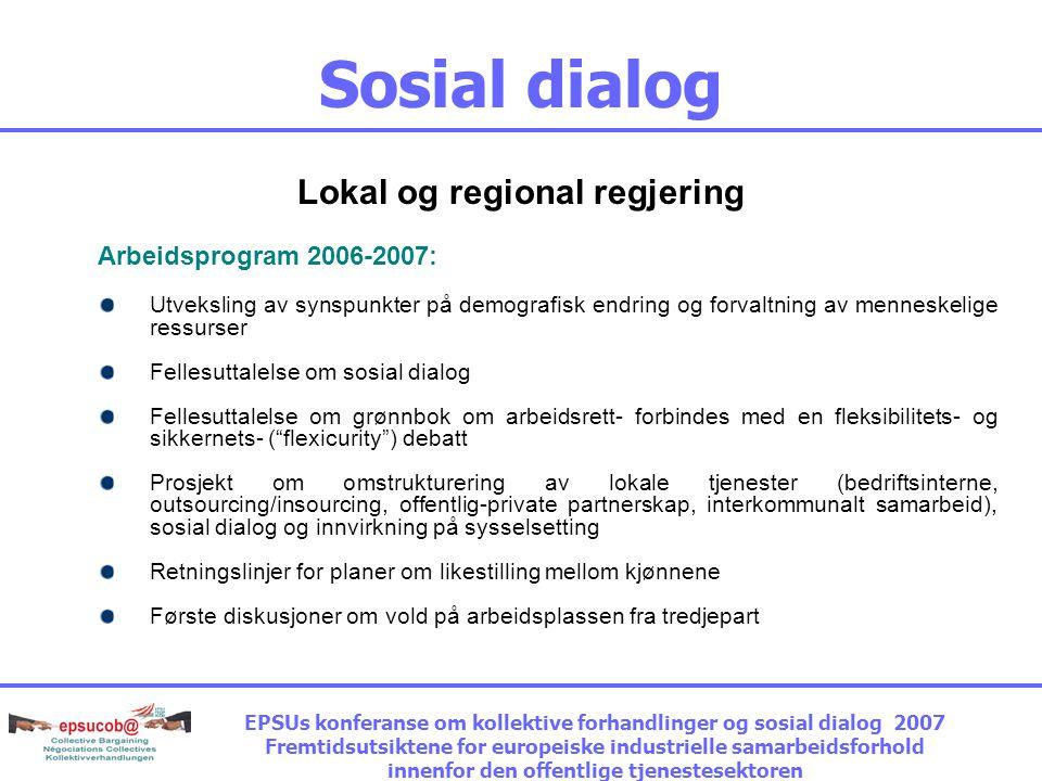 Sosial dialog Lokal og regional regjering Arbeidsprogram 2006-2007: Utveksling av synspunkter på demografisk endring og forvaltning av menneskelige ressurser Fellesuttalelse om sosial dialog Fellesuttalelse om grønnbok om arbeidsrett- forbindes med en fleksibilitets- og sikkernets- ( flexicurity ) debatt Prosjekt om omstrukturering av lokale tjenester (bedriftsinterne, outsourcing/insourcing, offentlig-private partnerskap, interkommunalt samarbeid), sosial dialog og innvirkning på sysselsetting Retningslinjer for planer om likestilling mellom kjønnene Første diskusjoner om vold på arbeidsplassen fra tredjepart EPSUs konferanse om kollektive forhandlinger og sosial dialog 2007 Fremtidsutsiktene for europeiske industrielle samarbeidsforhold innenfor den offentlige tjenestesektoren