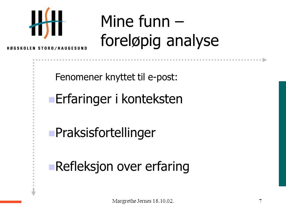 Margrethe Jernes 18.10.02.6 Mine funn – foreløpig analyse  DUO  Delaktighet  Uenighet  Oversiktlighet  De fire S`er  Sjekke  Svare  Starte  S
