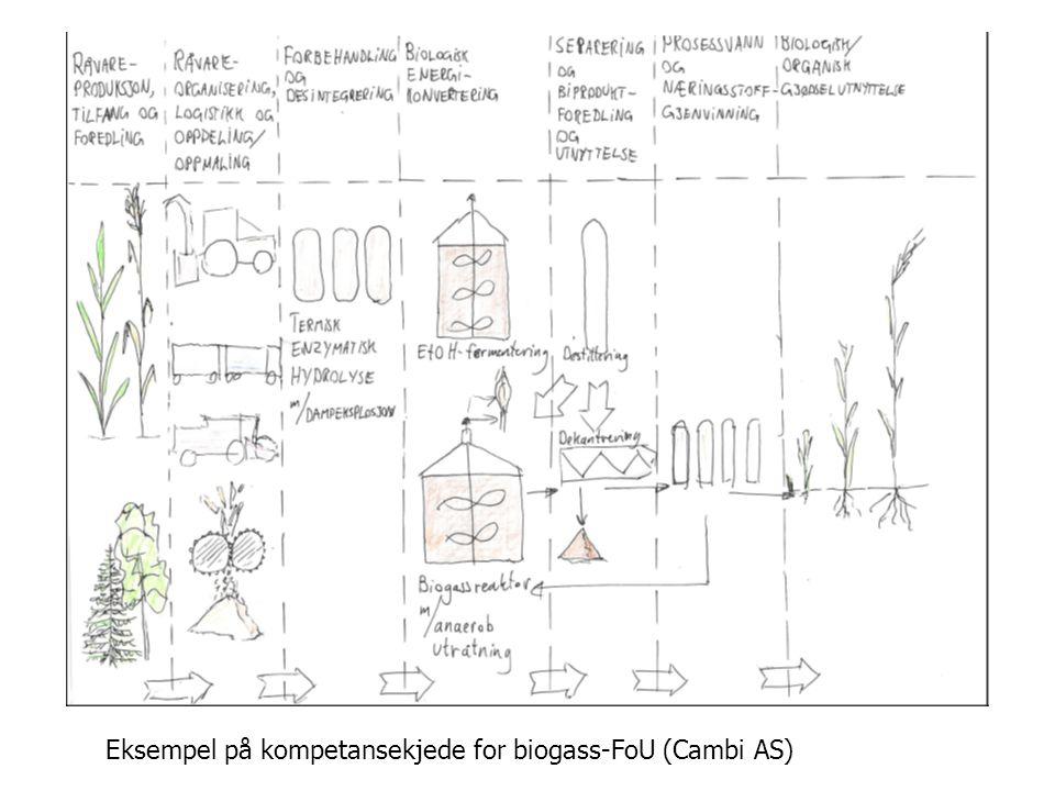 VISJON Eksempel på kompetansekjede for biogass-FoU (Cambi AS)