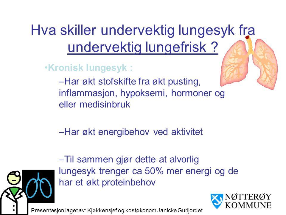 Hva skiller undervektig lungesyk fra undervektig lungefrisk ? •Kronisk lungesyk : –Har økt stofskifte fra økt pusting, inflammasjon, hypoksemi, hormon