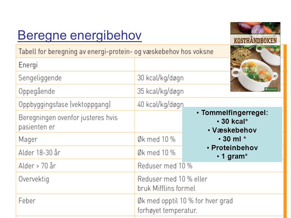 Beregne energibehov • Tommelfingerregel: • 30 kcal* • Væskebehov • 30 ml * • Proteinbehov • 1 gram*
