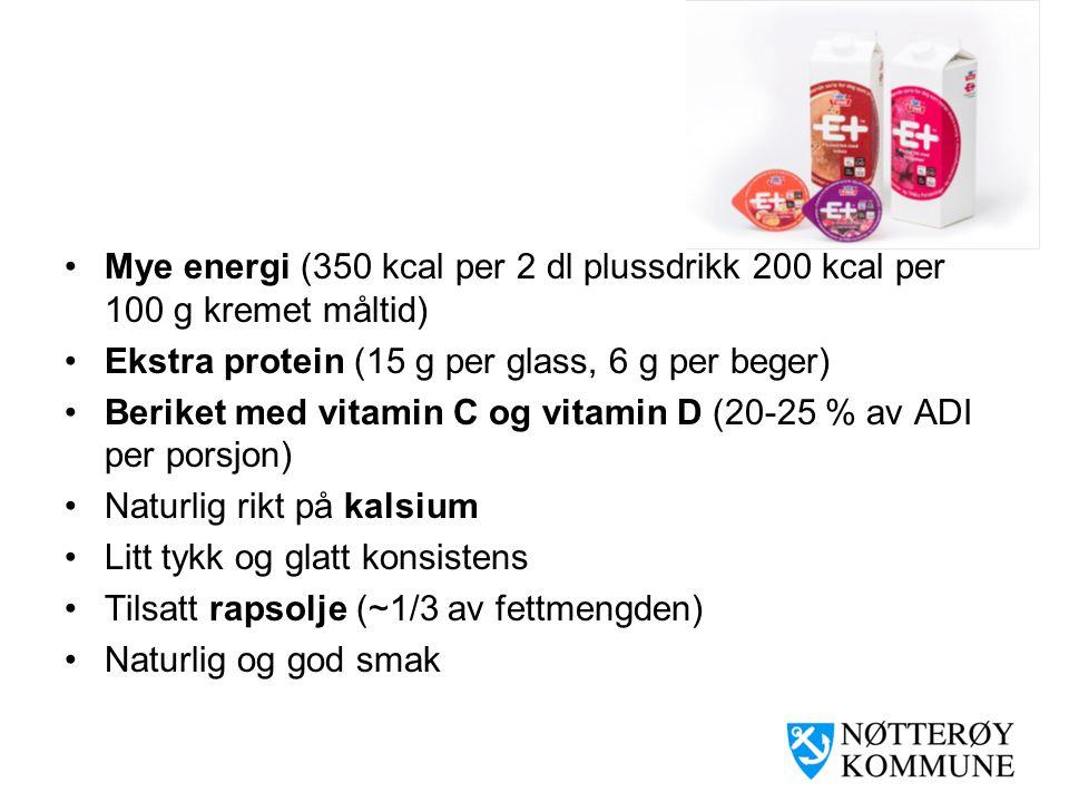 •Mye energi (350 kcal per 2 dl plussdrikk 200 kcal per 100 g kremet måltid) •Ekstra protein (15 g per glass, 6 g per beger) •Beriket med vitamin C og