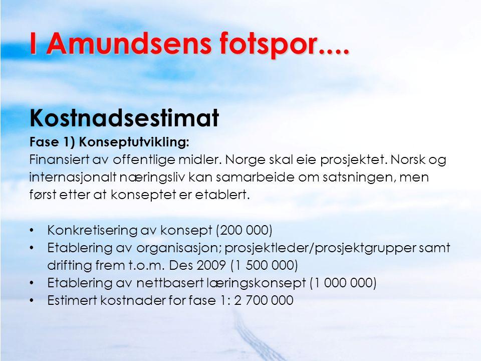 I Amundsens fotspor.... Kostnadsestimat Fase 1) Konseptutvikling: Finansiert av offentlige midler. Norge skal eie prosjektet. Norsk og internasjonalt
