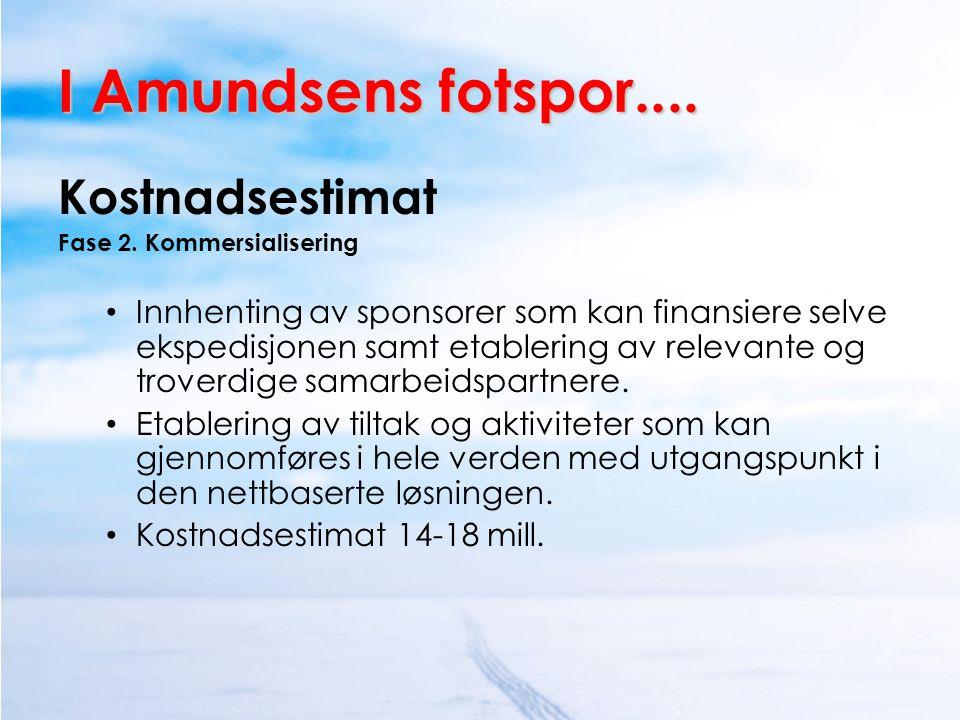 I Amundsens fotspor.... Kostnadsestimat Fase 2. Kommersialisering • Innhenting av sponsorer som kan finansiere selve ekspedisjonen samt etablering av
