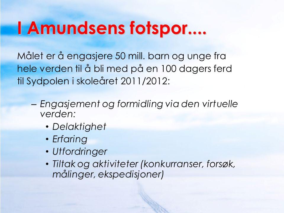 I Amundsens fotspor.... Målet er å engasjere 50 mill. barn og unge fra hele verden til å bli med på en 100 dagers ferd til Sydpolen i skoleåret 2011/2