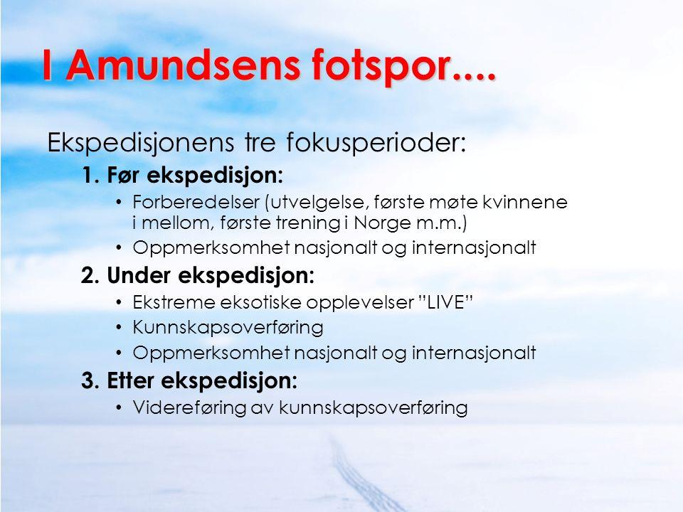 I Amundsens fotspor.... Ekspedisjonens tre fokusperioder: 1. Før ekspedisjon: • Forberedelser (utvelgelse, første møte kvinnene i mellom, første treni