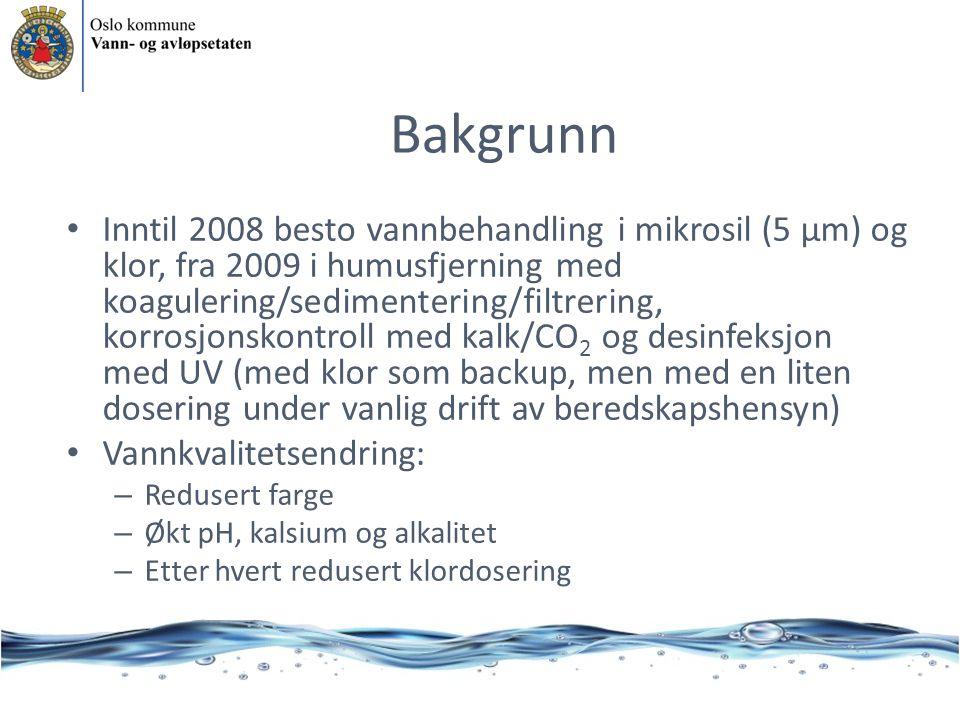 Bakgrunn • Inntil 2008 besto vannbehandling i mikrosil (5 μm) og klor, fra 2009 i humusfjerning med koagulering/sedimentering/filtrering, korrosjonsko