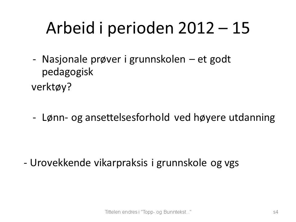 Arbeid i perioden 2012 – 15 -Nasjonale prøver i grunnskolen – et godt pedagogisk verktøy.
