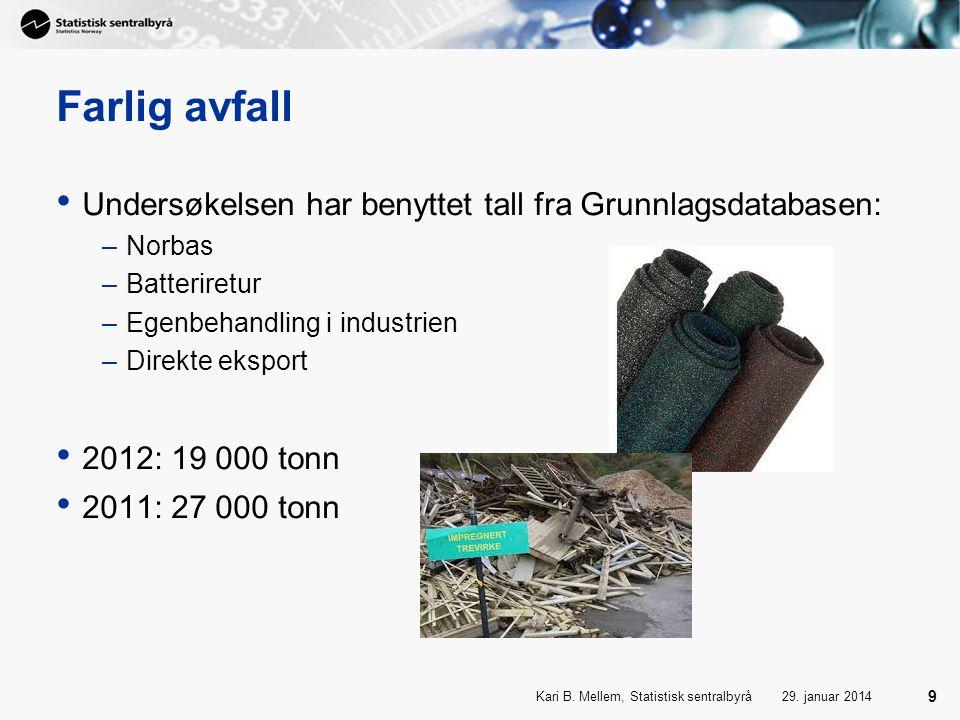 29. januar 2014Kari B. Mellem, Statistisk sentralbyrå 9 Farlig avfall • Undersøkelsen har benyttet tall fra Grunnlagsdatabasen: –Norbas –Batteriretur