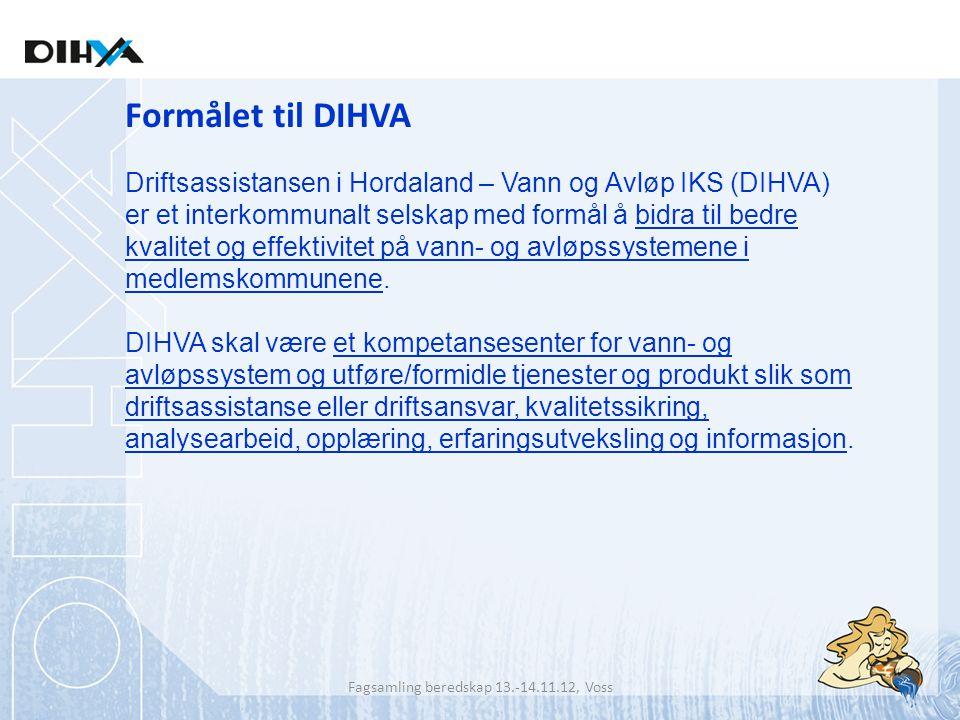 Formålet til DIHVA Driftsassistansen i Hordaland – Vann og Avløp IKS (DIHVA) er et interkommunalt selskap med formål å bidra til bedre kvalitet og eff