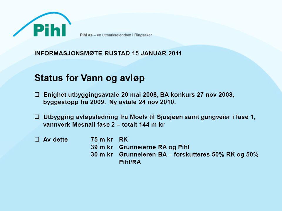 INFORMASJONSMØTE RUSTAD 15 JANUAR 2011 Status for Vann og avløp  Enighet utbyggingsavtale 20 mai 2008, BA konkurs 27 nov 2008, byggestopp fra 2009.