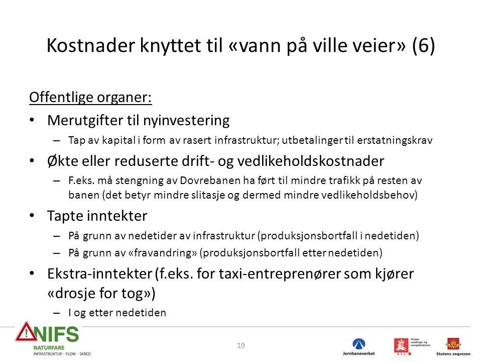 Kostnader knyttet til «vann på ville veier» (6) Offentlige organer: • Merutgifter til nyinvestering – Tap av kapital i form av rasert infrastruktur; u
