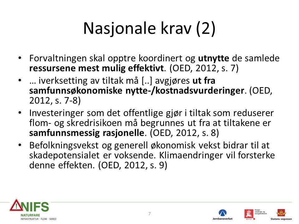Nasjonale krav (2) • Forvaltningen skal opptre koordinert og utnytte de samlede ressursene mest mulig effektivt. (OED, 2012, s. 7) • … iverksetting av