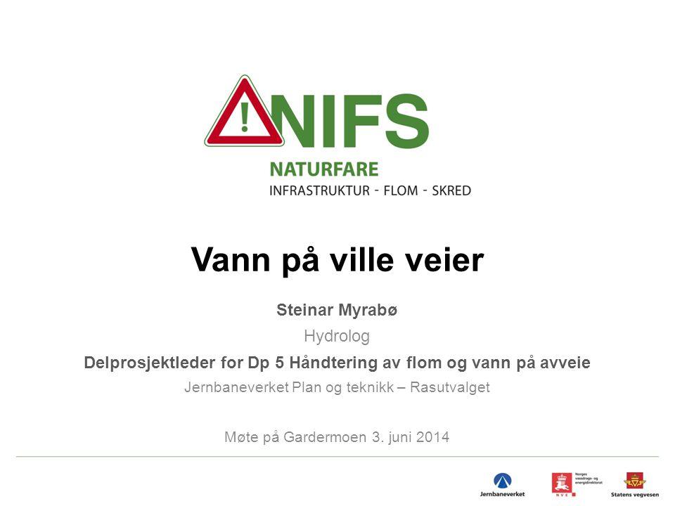 Vann på ville veier Steinar Myrabø Hydrolog Delprosjektleder for Dp 5 Håndtering av flom og vann på avveie Jernbaneverket Plan og teknikk – Rasutvalge