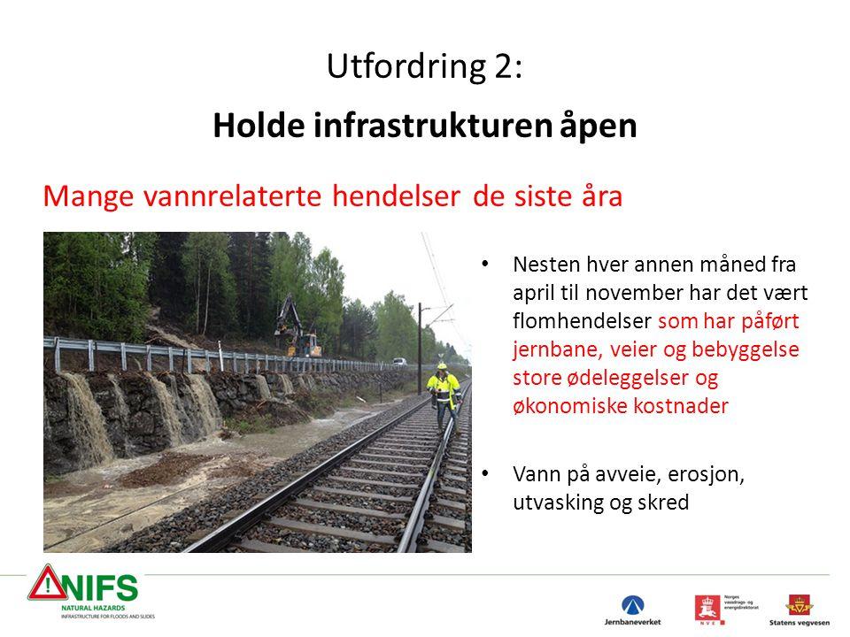 Utfordring 2: Holde infrastrukturen åpen Mange vannrelaterte hendelser de siste åra • Nesten hver annen måned fra april til november har det vært flom