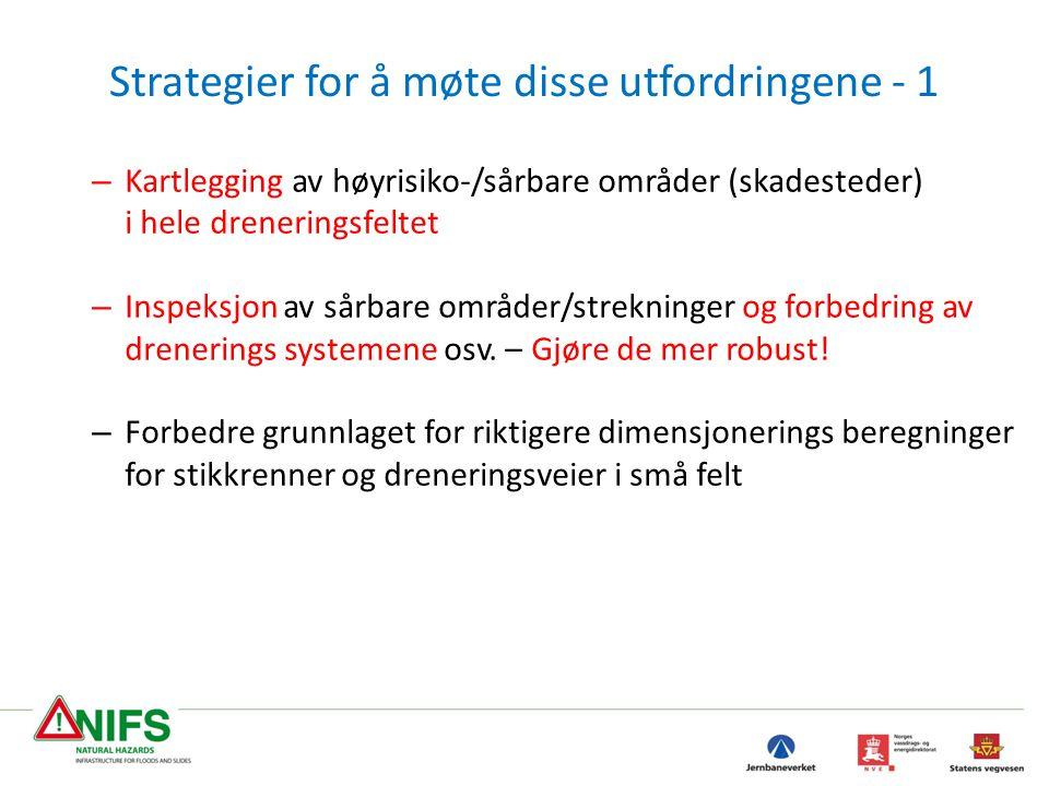 Strategier for å møte disse utfordringene - 1 – Kartlegging av høyrisiko-/sårbare områder (skadesteder) i hele dreneringsfeltet – Inspeksjon av sårbar