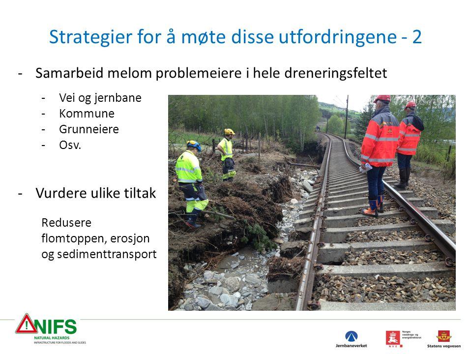 -Vurdere ulike tiltak Redusere flomtoppen, erosjon og sedimenttransport Strategier for å møte disse utfordringene - 2 -Samarbeid melom problemeiere i